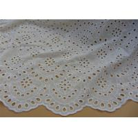 Chemical Vintage Eyelet 100% Cotton Lace Fabric For Lady Shirt And Suit Anti Static Manufactures