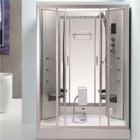 China Back Massage Jets Jacuzzi Shower Enclosures , Shower Steam Room Combo With Fold Up Seat on sale