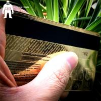 Laser Cut Anodized Gold Business Cards With Mirror On Back 0.3mm 0.5mm Thickness Manufactures