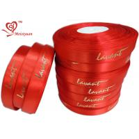 Red gift tie ribbon 6 / 8 Inch Custom Printed , personalized gift ribbon for Chocolate / candy Manufactures