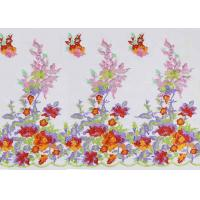 Beautiful Floral Multi Colored Embroidered Tulle Lace Fabric For Bridal Gown Dress Manufactures