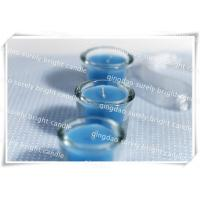 blue color glass candle