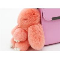 Handmade 13cm Fluffy Rabbit Bag Charm , Plush Bunny Handbag Charms Keyrings  Manufactures