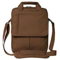 China Double Zipper Nylon Computer Bag Brown Laptop Bag with Metal Buckle on sale