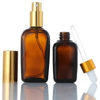 China Cosmetics Square Glass Bottle , Custom Emulsion Lotion Brown Glass Bottles on sale
