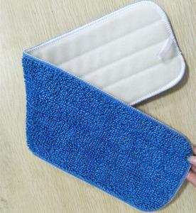China Blue Twisted Microfiber Wet Mop Pads , 5mm Sponge 280gsm Nylon Self Adhesive Mop Pad Head on sale