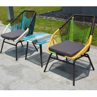 French style Colorful Iron frame deck rattan stackable cafe lazy chair for Garden, plastic weaving rattan chair Manufactures