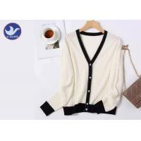Buy cheap V Neck Ladies 100% Wool Sweater Contrast Color Rib Knitting Winter Elegant from wholesalers