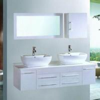 White PVC Bathroom Vanity/Double Basin Bath Cabinet, Wall Mount Design  Manufactures