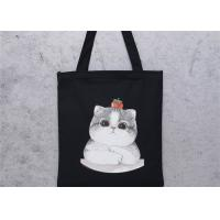 China Cute Cat Printed Custom Canvas Bags , Custom Printed Canvas Bags with Zipper on sale
