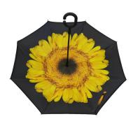 23 Inch Double Layer Reverse Inverted Umbrella Manual Open With C Handle Manufactures