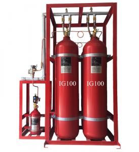 China Inert Gas IG100 Fire Suppression System Cylinder Volume 80L 90L Enclosed Flooding on sale