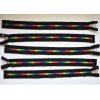 Plastic Type Sewing Notions Zippers , rainbow teeth multi colored zipperr for garment Manufactures