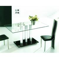 China Glass tempered glass Metal Dining Table on sale