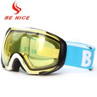 Helmet Compatible Anti Fog Ski Goggles For Mens , Yellow Snowboard Goggles Manufactures