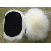 Natural White Wool Sheepskin Car Wash Mitt Single Side With Mesh Back Manufactures