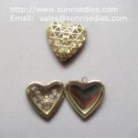 Mesh brass heart shaped photo locket for diy jewelry, copper heart locket Manufactures