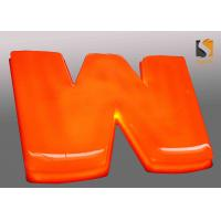 Orange Outdoor Vacuum Formed Lighted Channel Letters With Dome Shape Face / Prismatic Face Manufactures