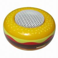 Mobile Phone Mini Speakers in Hamburger Style, with Built-in Rechargeable Battery, Portable/Creative Manufactures
