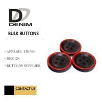 Quality Fashion Polyester Bulk Clothing Buttons Black & Red Trims Solution for sale