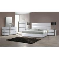 European White High Gloss 5 Drawer Chest , King Size High Headboard Beds Manufactures