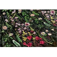 Stretch Multi Colored Floral Heavy Beaded Lace Fabric For Wedding Dress Decoration Manufactures