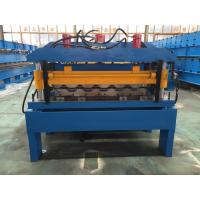 Hydraulic Cutting Steel Roofing Tile Roll Forming Machine With Chain Drive 2-4m/Min Manufactures