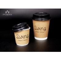 China Disposable Double Wall Takeaway Coffee Cups Kraft Paper Outer Layer For Hot Chocolate on sale