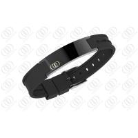 Health Stainless Steel Bracelets Bio Ionized Magnetic PVD IP Black Silicone Manufactures