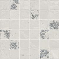 China Gray Cold Colored Mosaic Floor Tiles Floral Effect High Glossy Surface Popular on sale