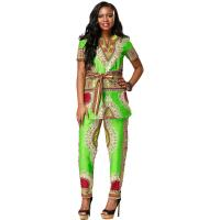Customized Size African Print Ladies Pants Suit For Summer / Spring / Autumn Manufactures