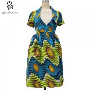 African Print Dresses Short Sleeve Deep V neck Casual Dress Manufactures