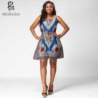 100% Wax Cotton Short Sleeve African Print Dresses Medium Length Square Collar Manufactures