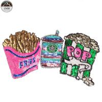 China French Fries Large Sequin Patches , Popcorn Sequin Sew On Patches Customized Color on sale