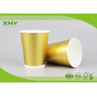 16oz Golden Metallic Diamond Double Wall Paper Cups for Coffee Hot Drink with Lids FDA Certificated Manufactures