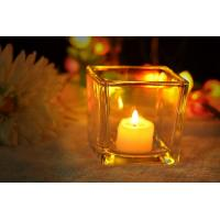 China 7 oz Square Thick modern glass candle holders / 230ml glass jar candle holders on sale