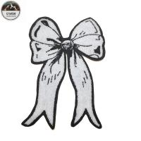 White BowKnot Custom Chenille Patches OEM 30*20CM Size For Girls Dresses Manufactures