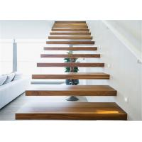 Interior Loft Oak Wooden Building Floating Stairs Hot Dip Galvanized Finish Manufactures