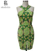 Bodycon African Print Dresses Designs For Women'S Clothing Kitenge Fabric Front Slit Manufactures