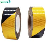 China Black Yellow Reflective Hazard Adhesive Warning Marking Tape 0.09mm Release Thickness on sale