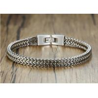 China High Polish Stainless Steel Mesh Bracelet Keel Chain Link Mens Silver Clasp on sale
