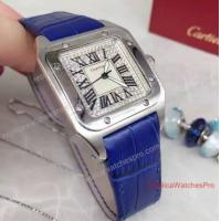 China Cartier Santos Diamond Face 36mm Blue Leather Band Watch on sale