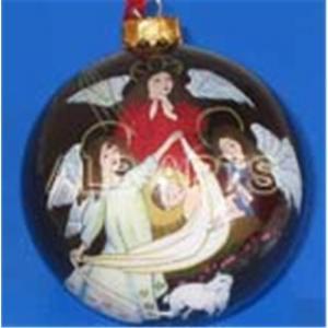 China Angel christmas ball,inner angel christmas glass ball,custom angel glass ornaments on sale
