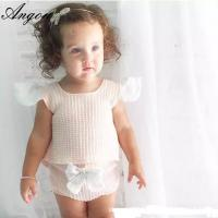 Quality Angou INS popular baby sets European&American style pink tops+bow pants 2pcs sets infant for sale