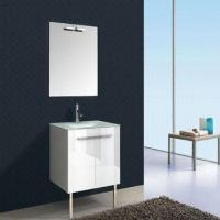 Bathroom vanity, cabinet with two doors, 15mm MDF or 16mm PB, single mirror and glass basin Manufactures
