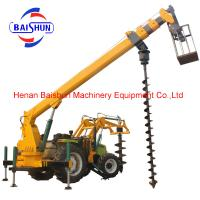 Full Hydraulic Pole Erection Machine Of 5 Ton Tractor Mounted With Crane And Auger Manufactures