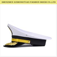 Adjustable White Military Peaked Cap Embroidery Navy Captain Hat 56-58cm Manufactures