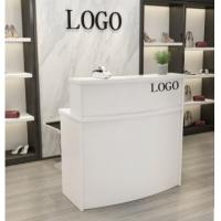 Wooden Reception Desk Display Case With Acrylic Logo For Shopping Mail Manufactures