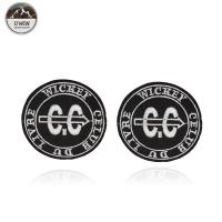 China Round Letter Embroidery Designs Patches Badge Black / White With Merrow Border on sale