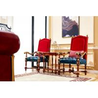 China Classic Wooden Frame Leather High Back Living Room Leisure Arm Chair on sale